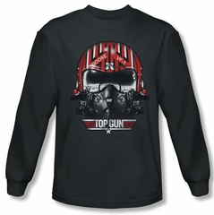 Top Gun Shirt Goose Helmet Long Sleeve Charcoal Tee T-Shirt