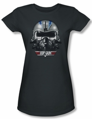 Top Gun Shirt Juniors Iceman Helmet Charcoal Tee T-Shirt