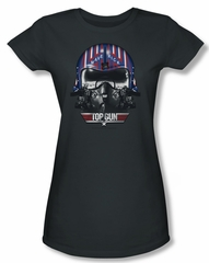 Top Gun Shirt Juniors Maverick Helmet Charcoal Tee T-Shirt