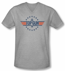 Top Gun Shirt Slim Fit V Neck Star Logo Athletic Heather Tee T-Shirt