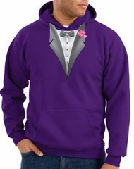 Tuxedo Hoodie Hoody Sweatshirt With Pink Flower - Purple