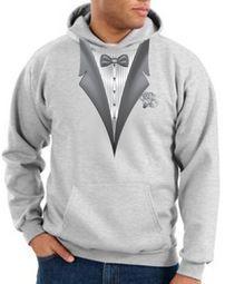 Tuxedo Hoodie Hoody Sweatshirt With White Flower - Ash Grey