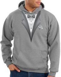 Tuxedo Hoodie Hoody Sweatshirt With White Flower - Athletic Heather