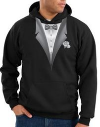 Tuxedo Hoodie Hoody Sweatshirt With White Flower - Black