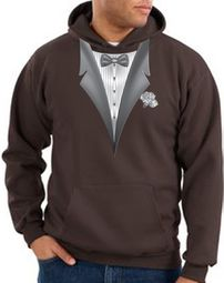 Tuxedo Hoodie Hoody Sweatshirt With White Flower - Brown