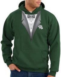 Tuxedo Hoodie Hoody Sweatshirt With White Flower - Dark Green