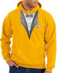 Tuxedo Hoodie Hoody Sweatshirt With White Flower - Gold