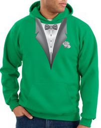 Tuxedo Hoodie Hoody Sweatshirt With White Flower - Kelly Green