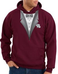 Tuxedo Hoodie Hoody Sweatshirt With White Flower - Maroon