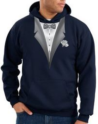 Tuxedo Hoodie Hoody Sweatshirt With White Flower - Navy Blue