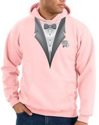 Tuxedo Hoodie Hoody Sweatshirt With White Flower - Pink