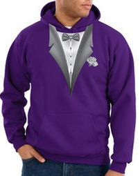 Tuxedo Hoodie Hoody Sweatshirt With White Flower - Purple