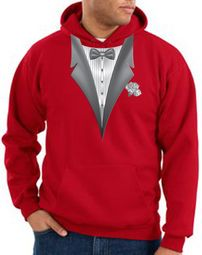 Tuxedo Hoodie Hoody Sweatshirt With White Flower - Red