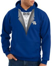 Tuxedo Hoodie Hoody Sweatshirt With White Flower - Royal Blue