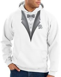 Tuxedo Hoodie Hoody Sweatshirt With White Flower - White