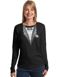 Tuxedo Ladies T-shirt - Adult Ladies Long Sleeve Tee