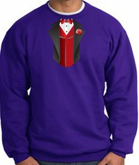 Tuxedo Sweatshirt With Red Vest - Purple