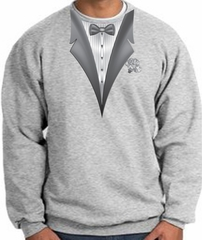 Tuxedo Sweatshirt With White Flower - Athletic Heather