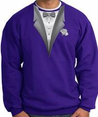 Tuxedo Sweatshirt With White Flower - Purple