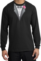 Tuxedo T-shirt Long Sleeve with Pink Flower - Black