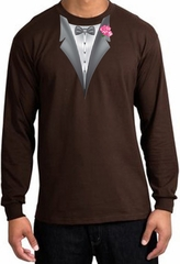Tuxedo T-shirt Long Sleeve with Pink Flower - Brown