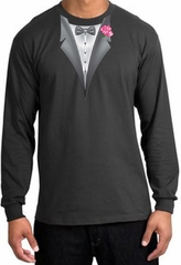 Tuxedo T-shirt Long Sleeve with Pink Flower - Charcoal