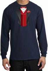 Tuxedo T-shirt Long Sleeve With Red Vest - Navy