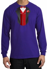 Tuxedo T-shirt Long Sleeve With Red Vest - Purple