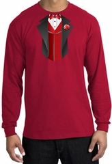 Tuxedo T-shirt Long Sleeve With Red Vest - Red