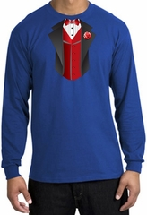 Tuxedo T-shirt Long Sleeve With Red Vest - Royal
