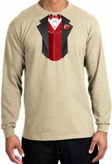 Tuxedo T-shirt Long Sleeve With Red Vest - Sand