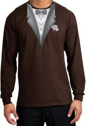 Tuxedo T-shirt Long Sleeve With White Flower - Brown