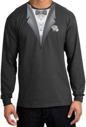 Tuxedo T-shirt Long Sleeve With White Flower - Charcoal