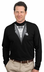 Tuxedo T-shirt Mock Turtleneck With White Flower