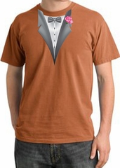 Tuxedo T-shirt Pigment Dyed With Pink Flower - Burnt Orange