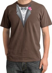 Tuxedo T-shirt Pigment Dyed With Pink Flower - Chestnut