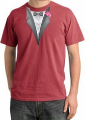 Tuxedo T-shirt Pigment Dyed With Pink Flower - Dashing Red