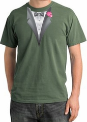 Tuxedo T-shirt Pigment Dyed With Pink Flower - Olive Green