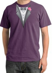 Tuxedo T-shirt Pigment Dyed With Pink Flower - Plum