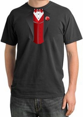 Tuxedo T-shirt Pigment Dyed With Red Vest - Dark Smoke
