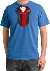 Tuxedo T-shirt Pigment Dyed With Red Vest - Medium Blue
