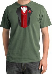 Tuxedo T-shirt Pigment Dyed With Red Vest - Olive