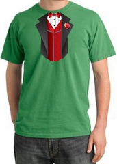 Tuxedo T-shirt Pigment Dyed With Red Vest - Piper Green