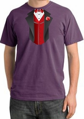 Tuxedo T-shirt Pigment Dyed With Red Vest - Plum