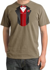Tuxedo T-shirt Pigment Dyed With Red Vest - Sandstorm