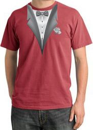 Tuxedo T-shirt Pigment Dyed With White Flower - Dashing Red
