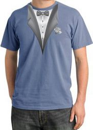 Tuxedo T-shirt Pigment Dyed With White Flower - Night Blue