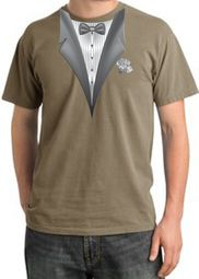Tuxedo T-shirt Pigment Dyed With White Flower - Sandstone