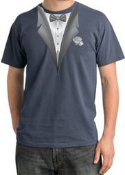 Tuxedo T-shirt Pigment Dyed With White Flower - Scotland Blue