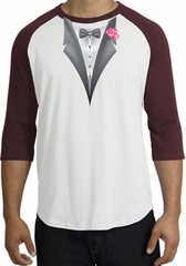 Tuxedo T-Shirt Raglan With Pink Flower - White/Maroon